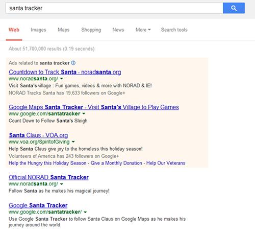 Google Prefers Bing's Santa Tracker