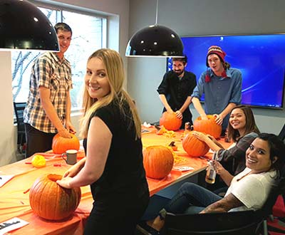 Carving Pumpkins at the Perrill Halloween Party