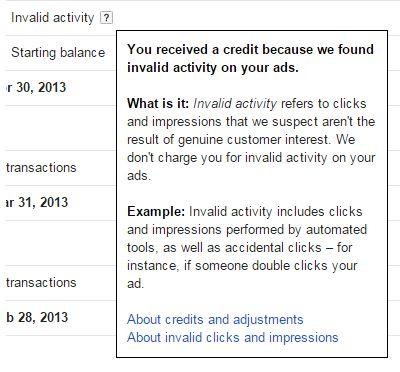 invalid click adjustment