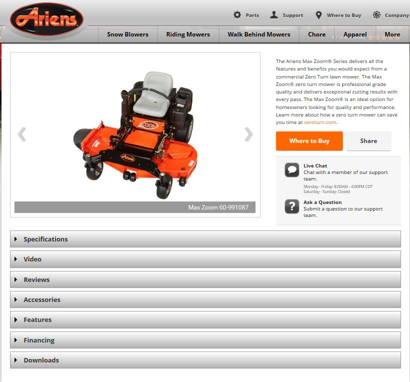 ariens screen cap