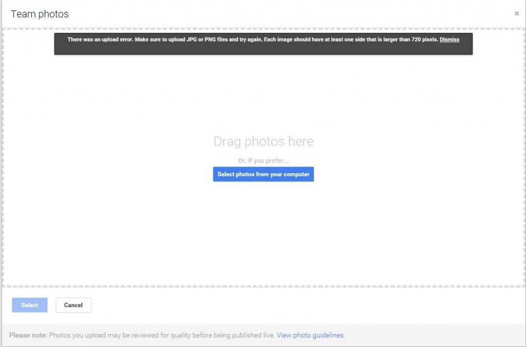 google business photo error