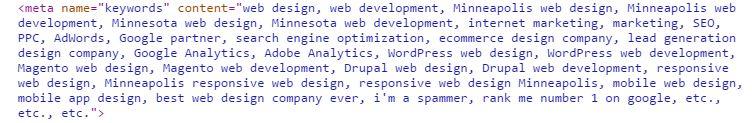 meta keyword stuffing