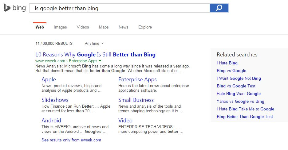 is google better than bing