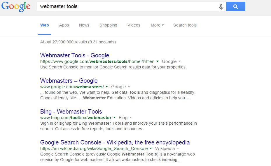 google webmaster tools search