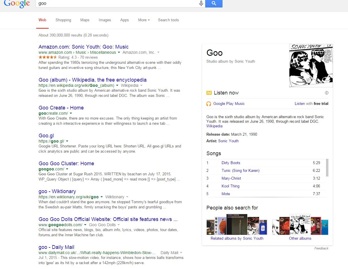 google loves sonic youth goo