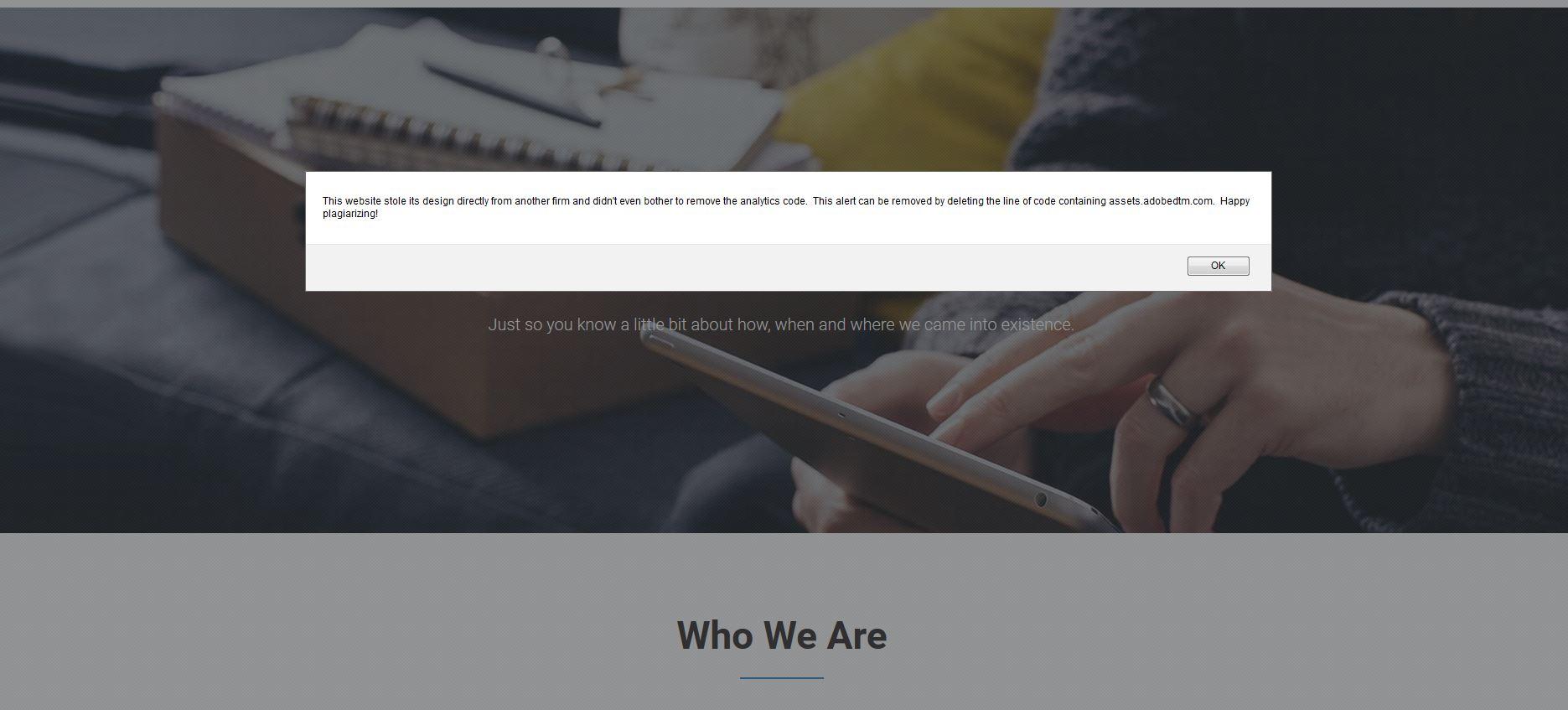 stolen website message