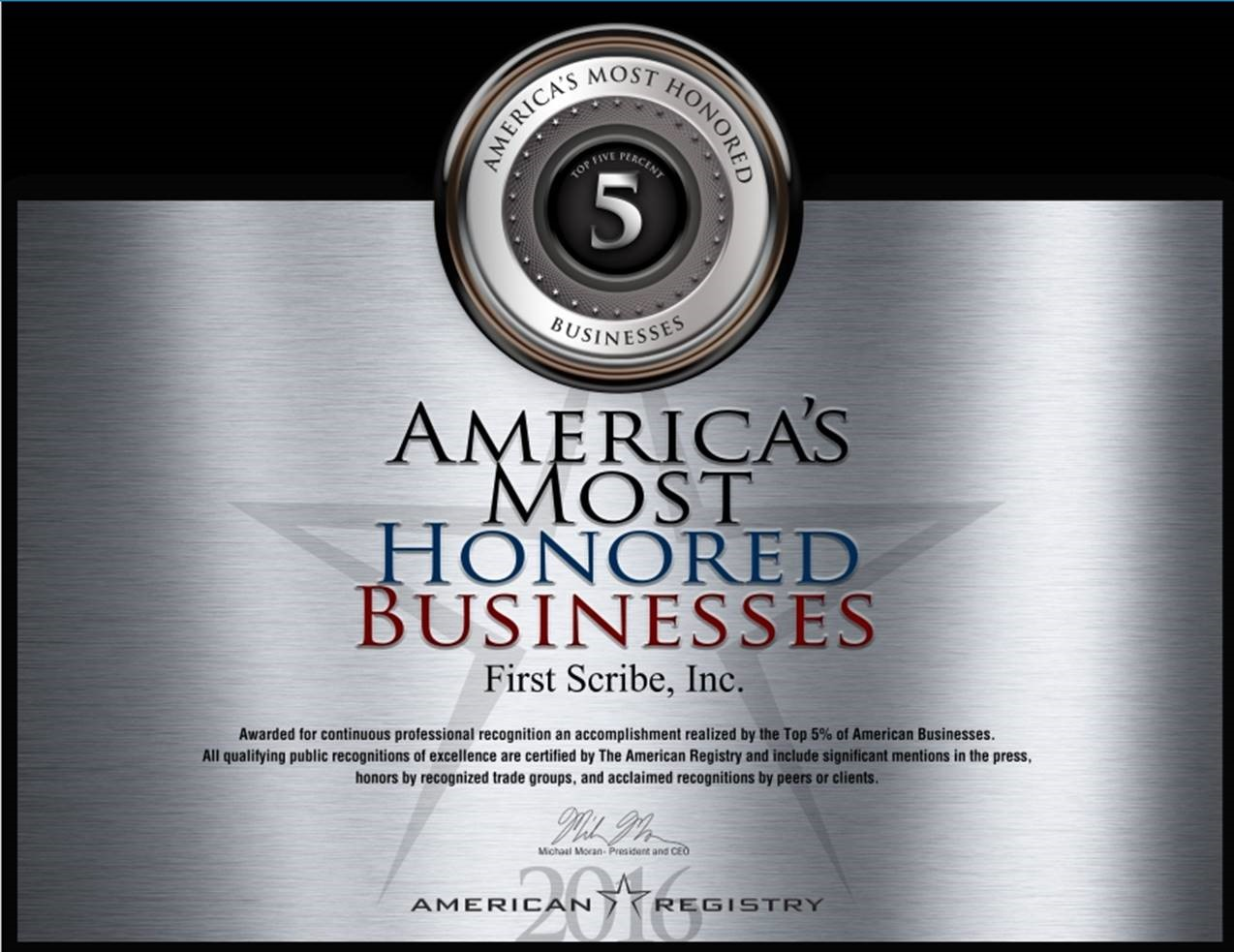 americas most honored businesses web design