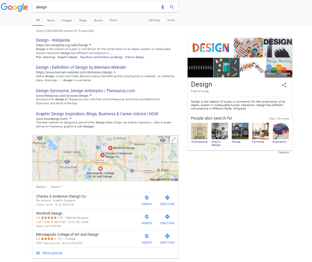 design search results