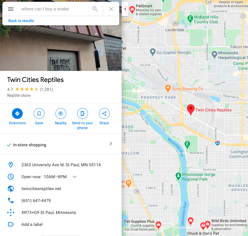 Google Local Listing Screenshot