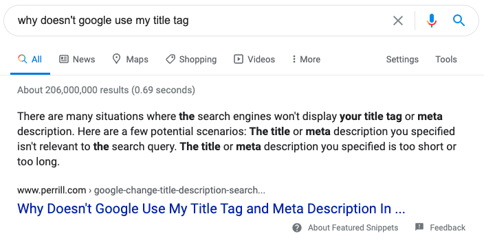 Why doesn't google use my title tag